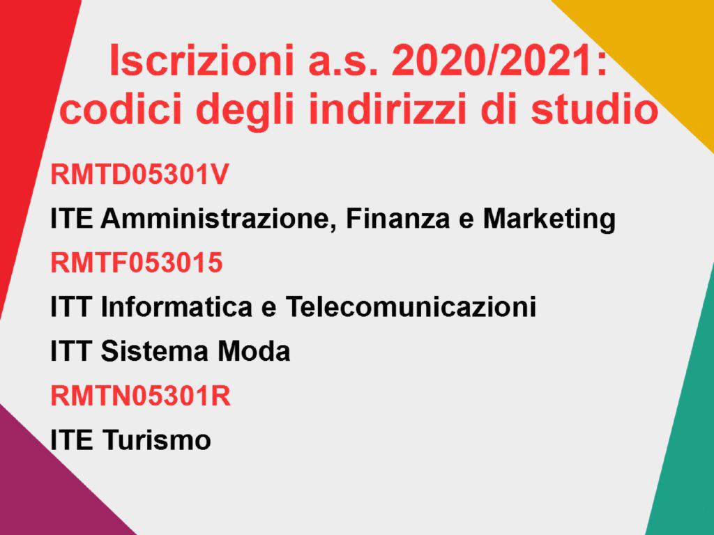 Codici degli indirizzi di studio a.s. 2020-21