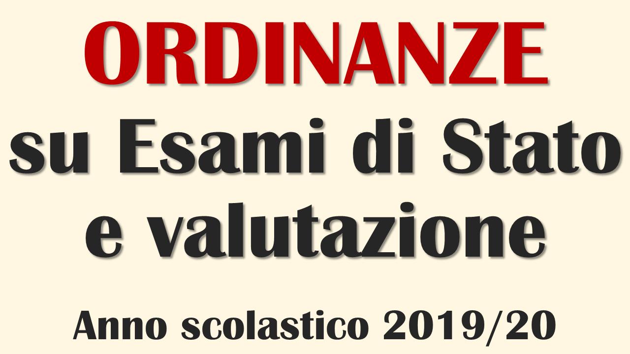 Ordinanze su Esami di Stato e valutazione a.s. 2019-20