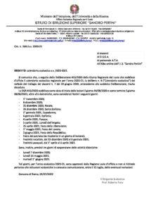 Circ. 268 – Calendario scolastico a.s. 2020 2021 – IISS Sandro